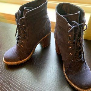 Navy Blue Stacked Heel Moto boots